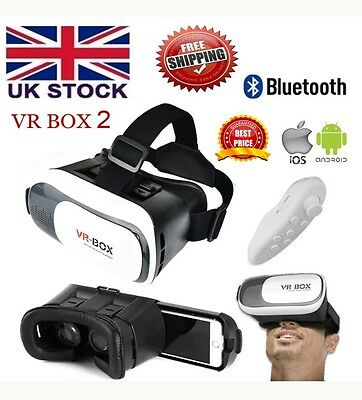 3D Virtual Reality VR Box Glasses Headset Helmet + Remote for use with phone