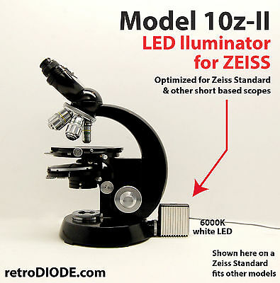 LED illuminator retrofit Kit with dimmer control for older Zeiss microscopes.