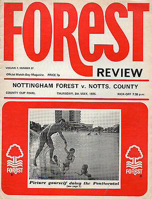 Nottingham Forest v Notts County Cup Final programme 8 May 1975