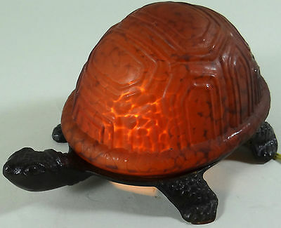 Turtle Lamp Night Light Thick Mottled Amber Glass Cast Metal Tiffany Style Works