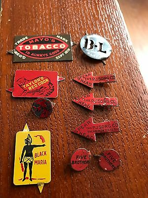 10 Antique 1800s Tin Tobacco Tags