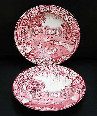 Enoch Woods Castles Dalguise Red/pink Cereal Soup Bowl Wood & Sons England