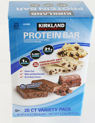 NEW Kirkland Signature Protein Bars Chocolate Brownie & Chocolate Chip -20 Count