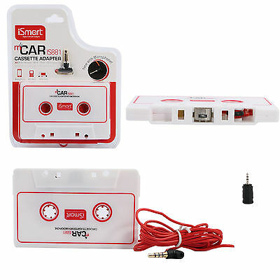 New Car Cassette Adapter Fits For 3.5mm iPhone iPod MP3 Audio CD Player & Mic