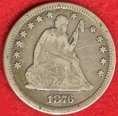 1876-Cc Seated Liberty Quarter - 90% Silver - Full Liberty &  Full Rims