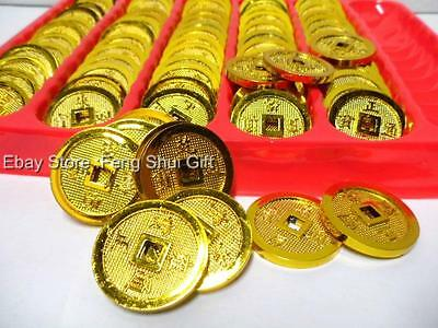 72x LOT Feng Shui Chinese Asian Gold Golden Money I Chin Coin Lucky Charm Set