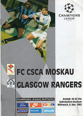 CSKA Moscow v Rangers Champions League programme played in Germany 9 Dec 1992