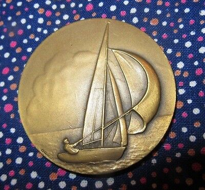old large french medal SAILBOAT bronze by DRAGO