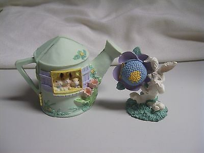 2 Easter Diorama Sprinkling Can Flower Hinged Figures Bunnies Table Decor