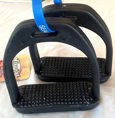 "New Pair English Stirrups 4 1/2"" Black Polymar Irons Rubber Pads Horse Tack"