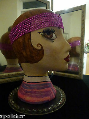 Hand painted sophisticated mannequin lady head  retro vintage ARTDECO  style