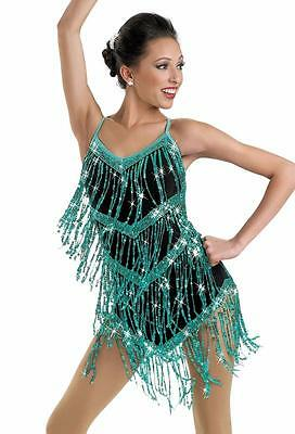 Dance Costume Large Child Green Sequin Fringe Jazz Solo Competition Pageant