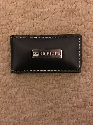 Tommy Hilfiger Black Leather Magnetic Money Clip In Gift Box