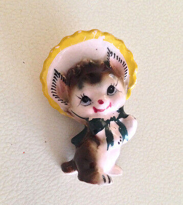 Vintage 1950's Kitten Cat Wearing a Bonnet Figurine