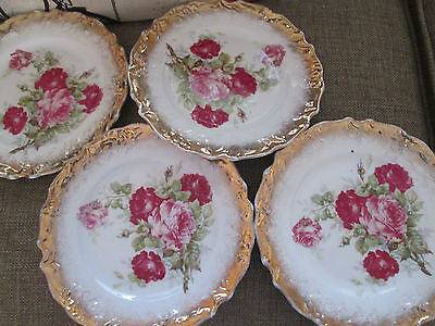 set o 4 German Rose china dessert plates, 3 crowns with gold gilding + FREE GIFT