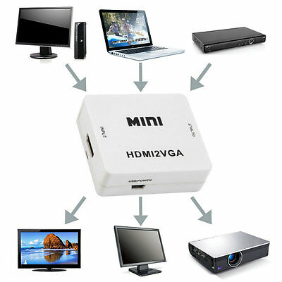 HDMI to VGA Converter With Audio Adapter Connector For PC Laptop to Projector