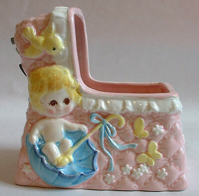 1950s vintage Eames nursery BABY COT PLANT HOLDER MUSICAL Relpo Japan pottery