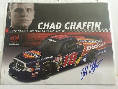 Autographed Chad Chaffin #18 Dodge Craftsman Truck Series 8x10 Hero Card w/COA