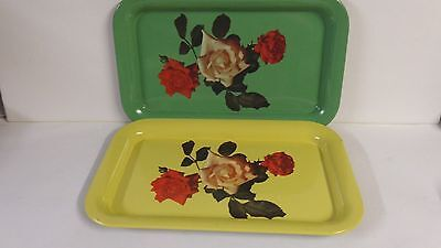 Vintage small metal serving tray roses green yellow
