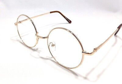 Round Unisex Metal Clear Lens Glasses Circle Frame-Gold-Silver Size:(S-M-L) USA