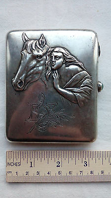 890 Old Russian Soviet USSR silver 875 cigarette case 147 grams lady & horse