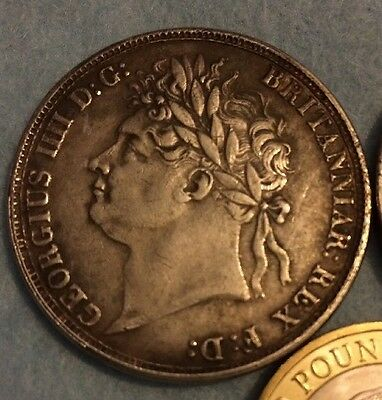 Rare 1822 George IIII Crown British Coin Silver Plated Uk