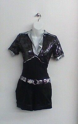 Dance Costume Large Child Black Silver Unitard Jazz Solo Competition Pageant