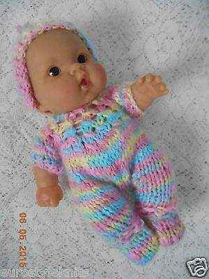"Doll Clothes Multicolor Hand knitted romper footed for baby 8in Berenguer 8"" 7"""
