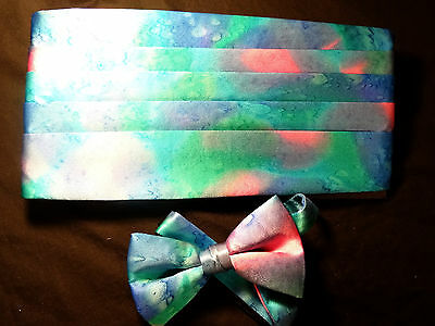 Vintage New Stunning Hand Painted Silk Cummerbund Bow Tie Set - Blues, Pinks +