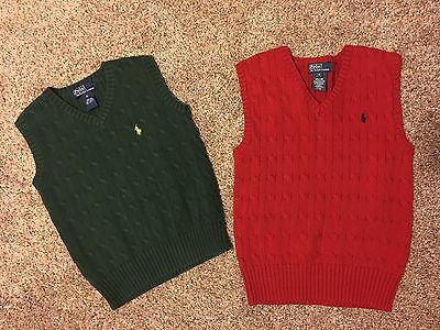 Lot Of 2 Ralph Lauren Boys Size 6 Sweater Vest Green Red Polo Pony