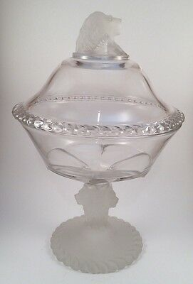 Vintage Gillinder & Sons - FROSTED LION HEAD Covered Compote - EAPG