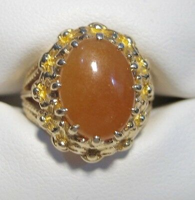 14K Yellow Gold Vintage Coral Cabochon Ring