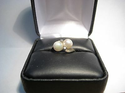 6mm Pearls with Diamonds in 14K Gold Ring