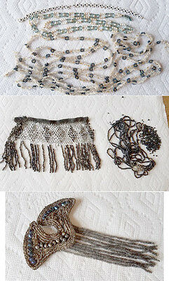 Lot Of Vintage Glass Bead Dress Sewing Trim