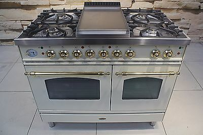 Britannia 100Cm  Dual Fuel Range Cooker In Light Cream And Brass