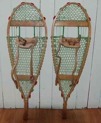 Rare Pair Snowshoes With Pom Pom For Display 28 Inches Beautiful
