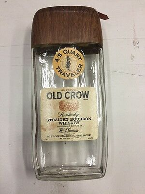 Vintage 1970-71 OLD CROW Whiskey TRAVELER FIFTH  w/ Buckle Strap-EMPTY
