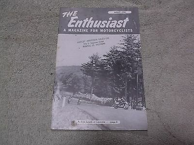 Harley Davidson August 1956 The Enthusiast A Magazine For Motorcyclists