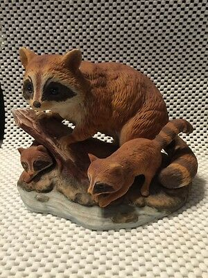 Enesco Porcelain Raccoon Family Figurine Made In Mexico Hand Painted Vintage