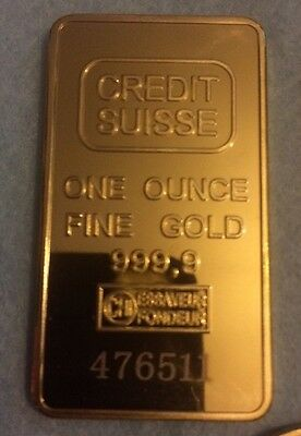 24k Gold Plated Credit Suisse 1oz Once Fine Gold 999.9 Bullion Bar Coin
