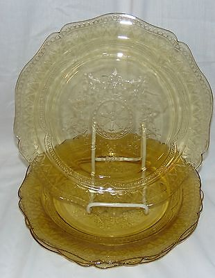 """4 Federal PATRICIAN AMBER *10 1/2"""" DINNER PLATES*"""