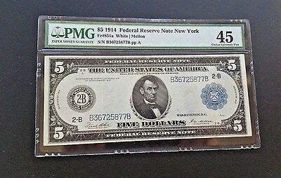 "1914 Series $5 Federal Reserve "" New York ""  Pmg 45 Chef"