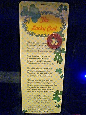 THE LUCKY CENT GOOD LUCK CHARM Penny W/Cut out Shamrock St.Patrick's Day NEW NIP