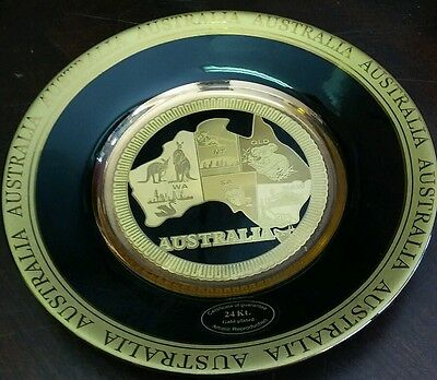24 Kt Gold Plated Australia Artistic Reproduction Black & Gold