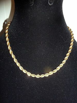 Vintage 14K Gold Plated Rope Chain Necklace 4mm 37 grams