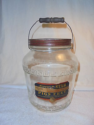 Vintage Armour's Star Pigs Feet jar bail handle original lid