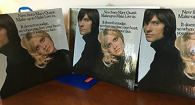"""lot of 3 vintage 1960's Mod Mary Quant POS Standups. approx 20""""x20"""" prop? store?"""