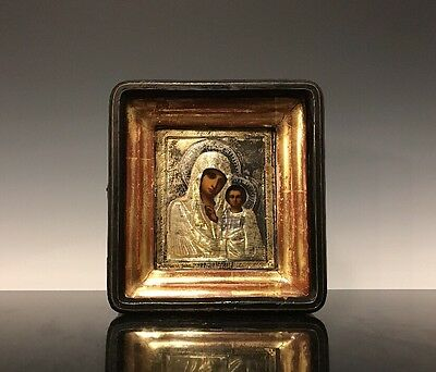 An Antique Russian 19th Century Hand Painted Religious Icon