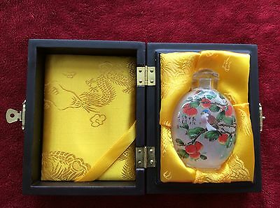 Chinese Painting Inside Crystal Glass Snuff Bottle Beautiful Flowers Birds
