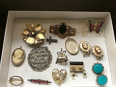 Vintage Lot/17: Pins, Brooches, Clip Earrings, Cameos, Turquoise, Stone, Cross